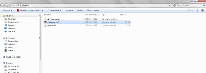 Vista del Dropbox en Microsoft