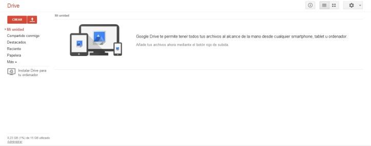 Vista del Google Drive desde el Chrome